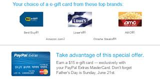 e giftcard earn 15 e gift card thru paypal extras offer in may ways to
