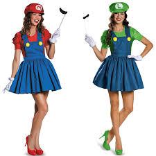 Halloween Costumes Luigi 6 Pieces Super Mario Bros Couples Costume Woman