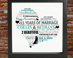 15th wedding anniversary gifts for 15 year anniversary etsy