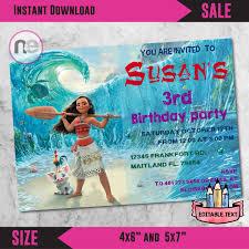 Rom Invitation Card Sale Moana Party Moana Moana Invitation Moana Birthday