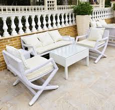 Chicago Wicker Patio Furniture - wicker patio furniture outdoor in area paved with natural stone