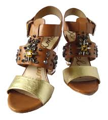 sam edelman brown gold yara sandals size 36 5 u2013 the bag hub