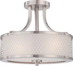 Ceiling Flush Mount Lights by Fusion 3 Light Semi Flush Mount Brushed Nickel Transitional