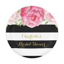 bridal shower plate wedding bridal shower black stripes floral glam paper plate