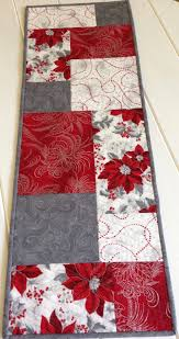 red and white table runner christmas quilted table topper green poinsettia holiday table cloth