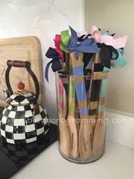 hand painted wooden kitchen utensils