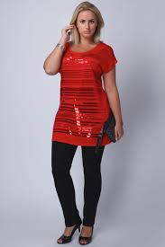 red sequin detail top with contrast zip at back plus size 14 16 18