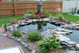 Garden Pond Ideas Small Landscape Pond Ideas A Small Backyard Pond Surrounded By