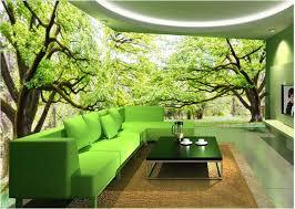 living room trees trees wallpaper landscape mural 3d office theme hotel hotel
