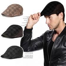 barret hat men cotton blend grid newsboy beret hat buckle golf flat