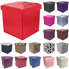 38cm folding storage pouffe cube foot stool seat ottoman toy chest