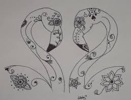 sugar skull flamingos in love pen and ink by spunsugarmenagerie
