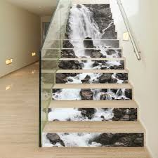 home stairs decoration 13 pieces set creative diy 3d stairway stickers stone waterfall