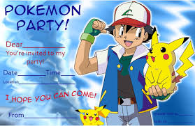 Free Online Birthday Invitation Cards For Kids Pokemon Birthday Invitations Kawaiitheo Com