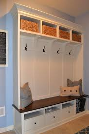 bench white mudroom storage bench with dark wicker storage