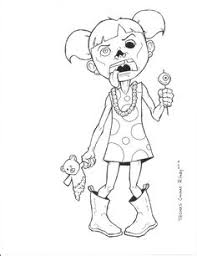 crazy zombie coloring kids halloween cartoon coloring pages