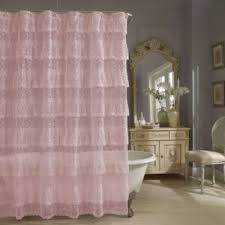Bed Bath And Beyond Ruffle Shower Curtain - priscilla lace shower curtain in pink bedbathandbeyond com