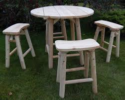 High Top Patio Furniture Set - furniture round white wooden outdoor high top table with four