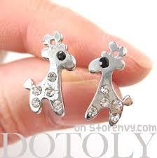 giraffe earrings dotoly plus small giraffe silhouette animal stud earrings in