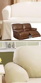 Slipcovers For Leather Recliner Sofas Dual Reclining Loveseat Slipcover T Cushion Off White Adapted For