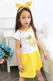 2017 wholesale 2017 best selling cute girls pineapple dress kids