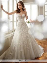 sweetheart neckline wedding dress tolli strapless tulle a line with plunging