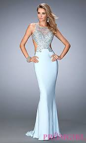 light blue dress jeweled illusion prom dress by la femme promgirl