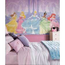Kids Bedroom  Disney Princes Wall Mural Art On Little Girl - Girls bedroom wall murals