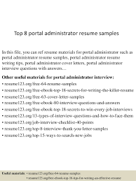 resume templates for administrative officers exams results portal top 8 portal administrator resume sles 1 638 jpg cb 1432908417