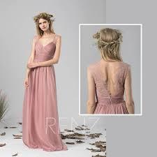 dusty wedding dress bridesmaid dress dusty chiffon dress wedding dressruched
