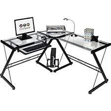 Black Glass L Shaped Desk Onespace Ultramodern Glass L Shape Desk Black And