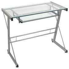 furniture cozy glass computer desk with keyboard tray and wrought
