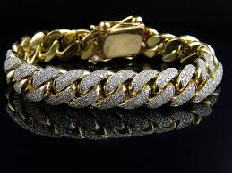 diamond link bracelet gold images Solid 10k yellow gold miami cuban link vs diamond 8 5 inch 12 9mm jpg