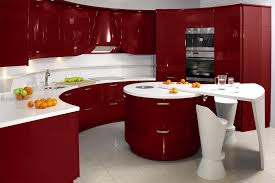 design magnificent contemporary red themed kitchen design with