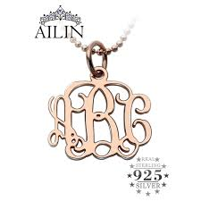 Monogram Initials Necklace Online Shop Small 0 72 Inch Rose Gold Color Monogram Necklace
