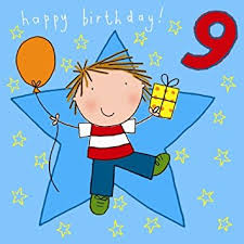 twizler 9th birthday card for boy with present balloon and
