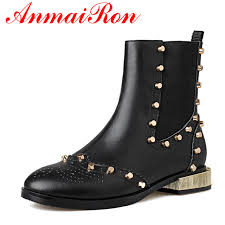 comfortable motorcycle riding boots anmairon new fashion rivets ankle boots women heavy metal autumn
