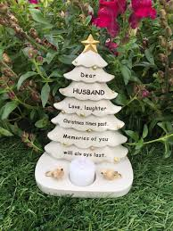husband tree graveside memorial ornament robin tealight