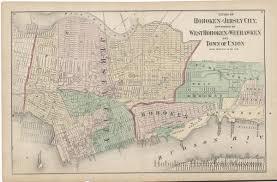 Map Of Jersey City Map Cities Of Hoboken U0026 Jersey City Townships Of West Hoboken