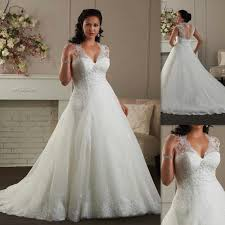 plus size wedding dresses 2016 cap sleeves a line white tulle