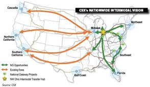 csx railroad map railroads redraw the intermodal map