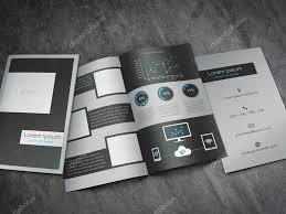 business bifold brochure template modern dark grey and blue
