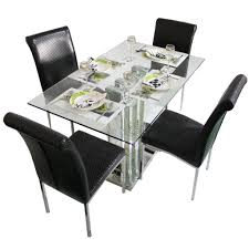 glass top dining table set 4 chairs glass dining sets dining room woodys furniture