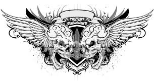 sideways skull and wing stock vector freeimages com