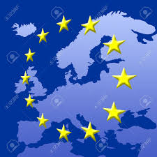 Eu Map Continent Of Europe Map With Eu Stars Symbolic Illustration