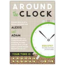around the clock bridal shower animal print around the clock shower invitations paperstyle