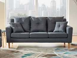 fauteuil et canapé canapé et fauteuil en tissu avec coussins anthracite balvi