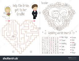 bride and groom coloring page wedding activity book kids maze heart stock vector 542261893