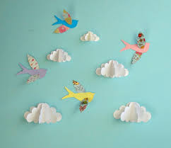birds and clouds 3d paper wall art wall decor wall decals