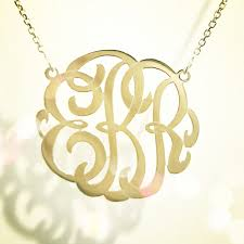 monogram gold necklace small personalized monogram necklace 14k yellow or